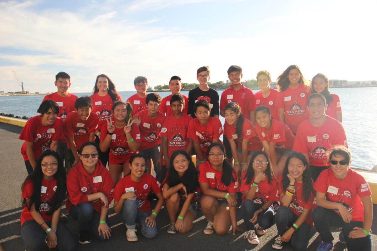 """The 2017-18 Robotics Team at Kalani High School. The 30 members of the team are comprised of students from all different classes. This photo was taken at the team's """"'Botting for the Future"""" event last year."""