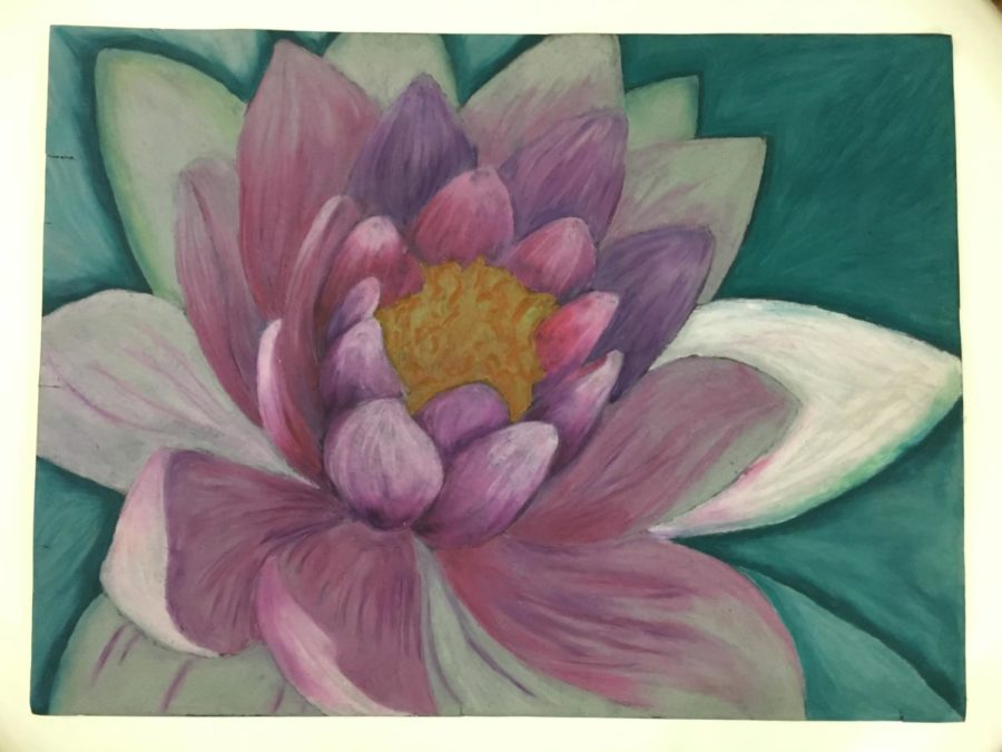 General Art student Charlotte Nguyen drew this flower using oil pastels.