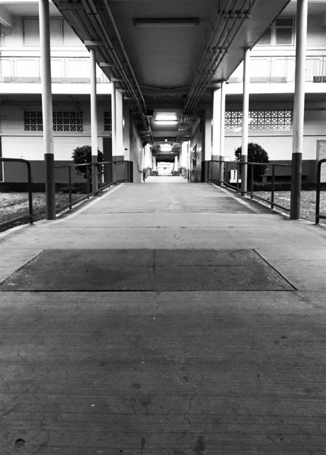 Every day I wake at 5 a.m., eager to get to school and see my friends. I could just not go to school and either go to Ala Moana or the beach or even another friend's house. But seeing the empty halls before a very busy day of school creates a drive and passion in me and I can't wait to conquer life's greatest challenges! Photo by Dylan Shugart 2017.