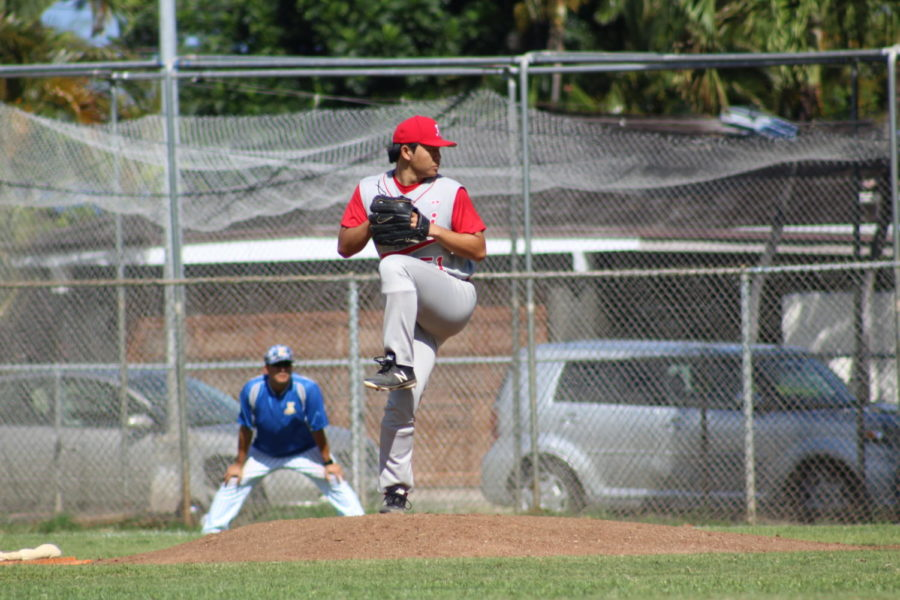 Kalani+Senior+Edward+Lee+pitches+against+Kaiser+High+School+on+April+20.+Kalani+won+4-3+in+Game+3+in+the+OIA+Division+I+playoffs.+Photo+by+Noah+Tamura.