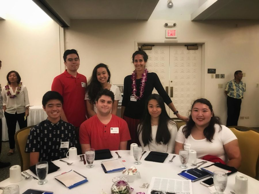 Second- and third-year News Writing students attended the Hawai'i High School Journalism Awards ceremony at the Pagoda Hotel on April 18. From left: Noah Tamura, Dylan Shugart, Rianne Pada, Jett Neeley, Advisor Brooke Nasser, Kai Kuruhara and Macey Honjiyo.
