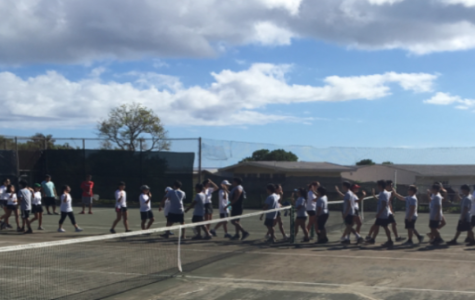 Kalani beat Kailua in Soft Tennis with a 4-2 overall win at the Kalani upper tennis on  Sept. 8. Photo by Tomoki Cheung 2018.
