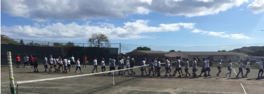 Kalani+beat+Kailua+in+Soft+Tennis+with+a+4-2+overall+win+at+the+Kalani+upper+tennis+on++Sept.+8.+Photo+by+Tomoki+Cheung+2018.+