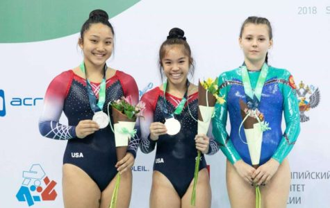 Kayttie Nakamura (center) won a world championship in the double mini-competition at this year's World Age Group Competition (WAGC) in St. Petersburg, Russia Nov. 11-16. To her right is U.S. teammate Sydney Senter, who placed 2nd in the Double Mini, and to her left is Russian Elizabeta Galtsova, who earned 3rd place. Photo courtesy of K. Nakamura 2018.