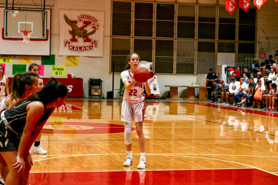 Senior Shelby McDaniel takes two at the free throw line during the 4th quarter against McKinley on Senior Night. Photo by Serena Wong 2019.