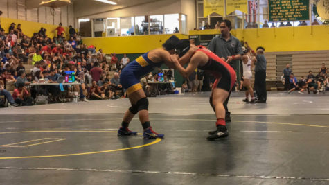 Kyara Tagami faces off against her Punahou opponent for third place in the 18th Annual Officials Wrestling Tournament. Photo by Lori-Lei Tagami 2018.