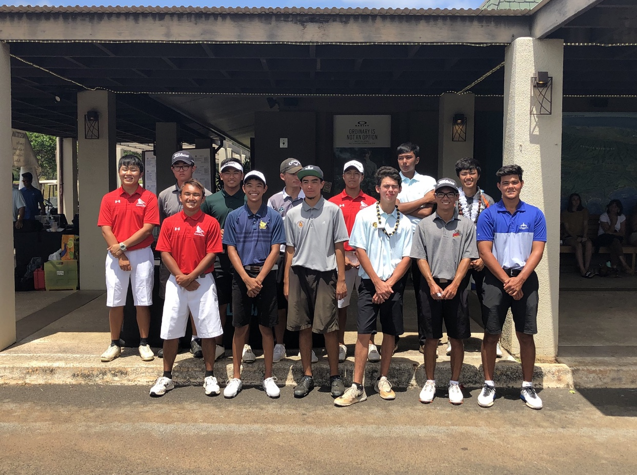 At+the+OIA+Boys+Varsity+Golf+Championship+at+Turtle+Bay+on+April+23%2C+three+Kalani+golfers+made+the+top+15.+Brayden+Miguel+%2812%29+placed+13th+with+a+score+of+78%2C+Cole+Matsueda+%2812%29+placed+9th+and+shot+73%2C+and+Curtis+Meares+%2811%29+shot+70+and+won+the+tournament.+Photo+by+Danny+Lau+2019.