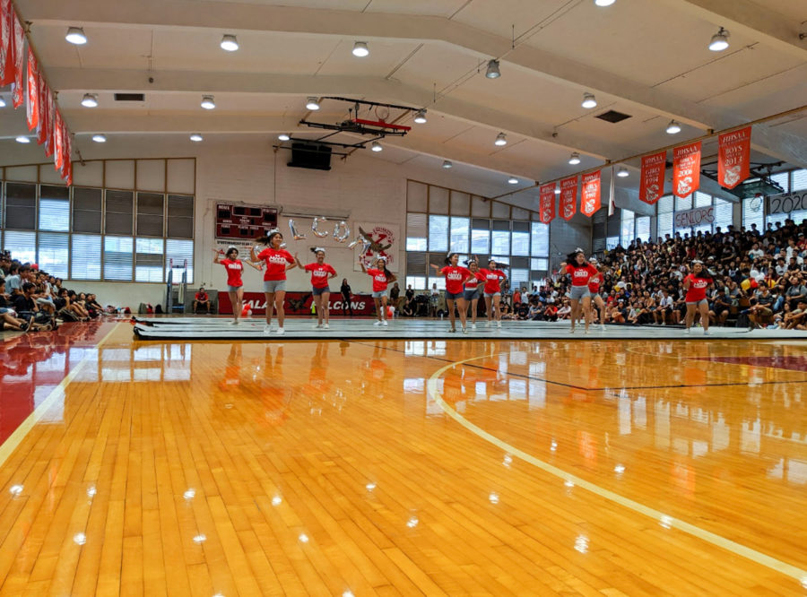Kalani High School's principal, Mr. Otani, kicked off the Welcome Back assembly by announcing the largest student body the school has seen in 40 years. Over 1500 individuals filled the bleachers on Aug. 14 to play games and hype up the school. Photo & caption by Lucy Fagan 2019.