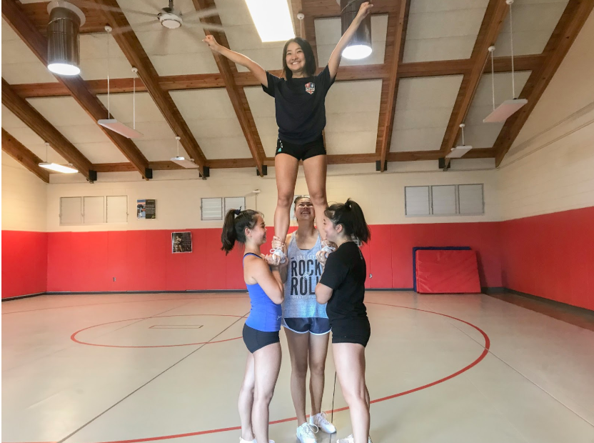 Kalani cheerleaders Naiyalyn Uratake (11), Shaylene Ishida (9), Kylie Omura (11), and Ashlyn Takai (11) practice for a preseason competition on Sept. 28 at Moanalua High School. The girls will perform a routine that they have been practicing since the start of the season in August. Routines are scored on performance, skill, and spirit. The team will compete against 10 other schools across Oahu such as Mililani, Kahuku, and Pearl City. The top five teams will move up to Easterns. Photo and caption by Jasmine Rossiter 2019.