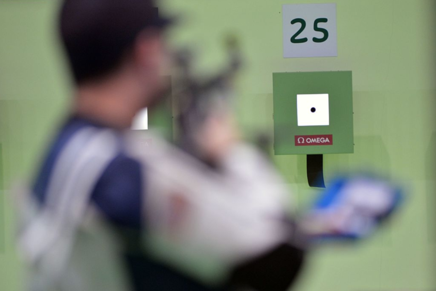Spc. Daniel Lowe of the U.S. Army Marksmanship Unit shoots to a 34th-place finish in the men's 10-meter air rifle competition Aug. 8 at the Olympic Shooting Center in Rio de Janeiro. U.S. Army photo by Tim Hipps, IMCOM Public Affairs. Wiki Commons 2019.