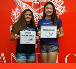 Seniors Paulina Ruelas, a four-year Kalani swimmer, and Maya Hanaoka, a four-year volleyball player, signed to continue to play their sports in college on Tuesday, Nov. 26. Photo by Lucy Fagan 2019.