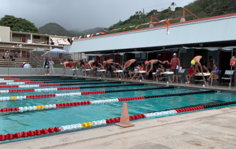 And they're off! Swimmers on starting blocks dive into the pool just after the gun goes off. Kalani hosted a meet on Nov. 23 at the Kalani pool with three other high schools in their Eastern conference. Photo by Lin Meyers 2019.