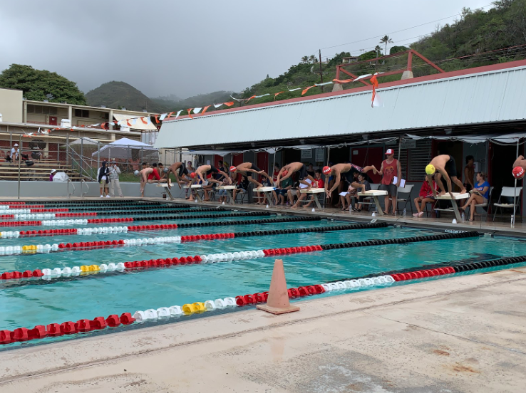 And+they%27re+off%21+Swimmers+on+starting+blocks+dive+into+the+pool+just+after+the+gun+goes+off.+Kalani+hosted+a+meet+on+Nov.+23+at+the+Kalani+pool+with+three+other+high+schools+in+their+Eastern+conference.+Photo+by+Lin+Meyers+2019.+