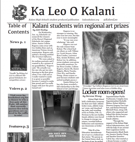 The Winter 2018 issue of Ka Leo O Kalani.
