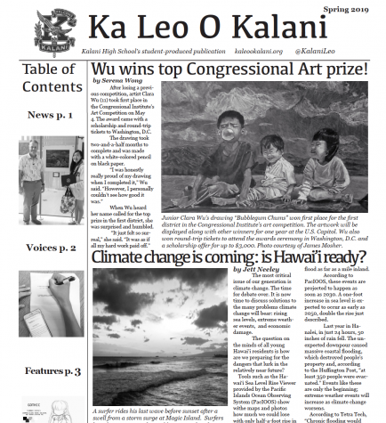 Spring 2019 issue of Ka Leo O Kalani.