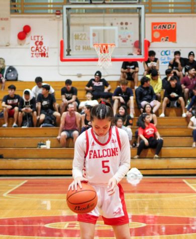 Lile Oyama (12) dribbles before sinking her second free-throw to put Kalani above Kaiser 15-14 halfway through the second quarter. Oyama had 11 points and made 3 of her 5 free-throw attempts. She fouled out of the game in the fourth quarter. Photo by Annyssa Troy 2020.