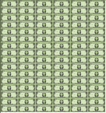 9.6 million Tress are cut down every day worldwide. In this graphic illustration, every pixel that makes up the dollar represents one tree. Each dollar bill has 100,000 pixels and in total there are 96 dollar bills to represent a day