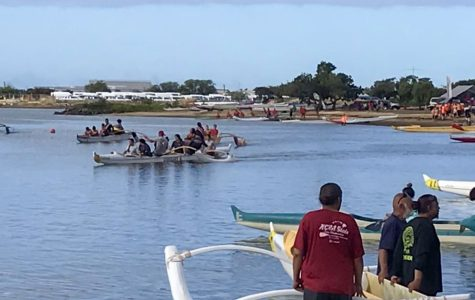 The paddling races come to an end as the Boys Varsity competitors make their way to the starting line for their Na Opio half-mile race, hoping to become this year's champions on Feb. 22 at Ke'ehi Lagoon. Photo by Zohar McMillan-Zilberman.