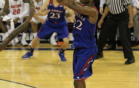 Andrew Wiggins of the Kansas Jayhawks lines up a jump shot in front of the basket on Dec. 10, 2013. Photo byDennis Adair.