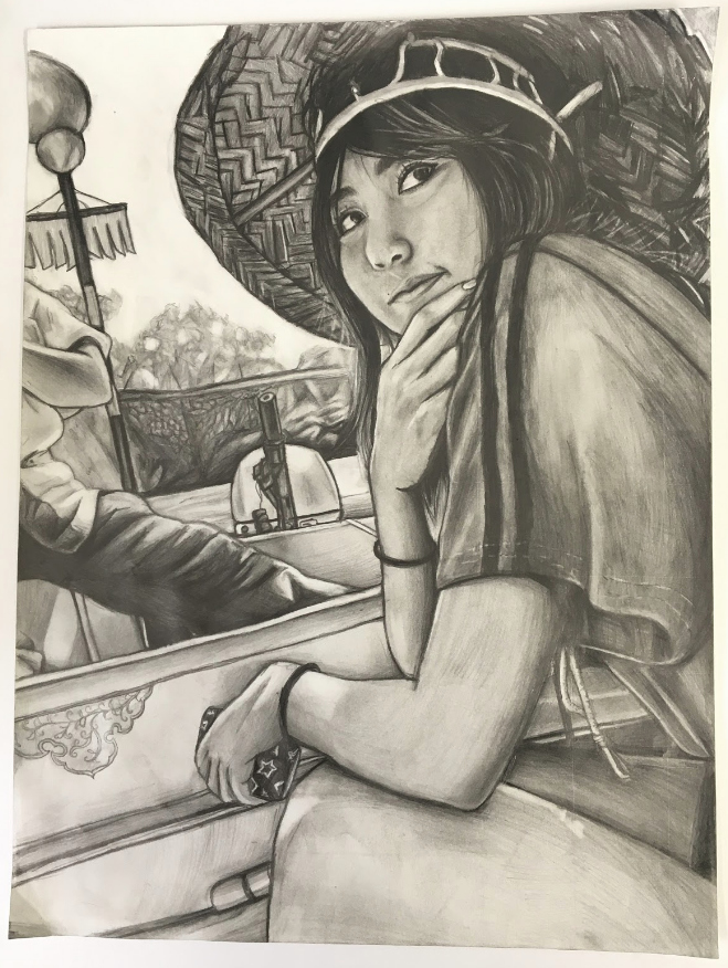 Senior Maria Tanaka did a self-portrait in graphite from a trip to Osaka. She was the first place 2020 Congressional Art Award winner. Photo courtesy of Mr. Mosher.