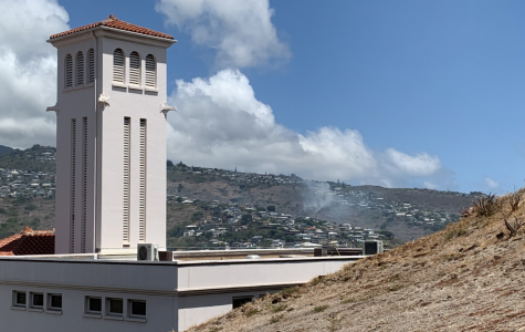 Kaimuki Fire Station with a plume of smoke behind it. Drier months and sparse rainfall have made the island more conducive to fire hazards, enabling small sparks and other starters to combust quickly and easily. Photo and caption by Virgil Lin 2020.