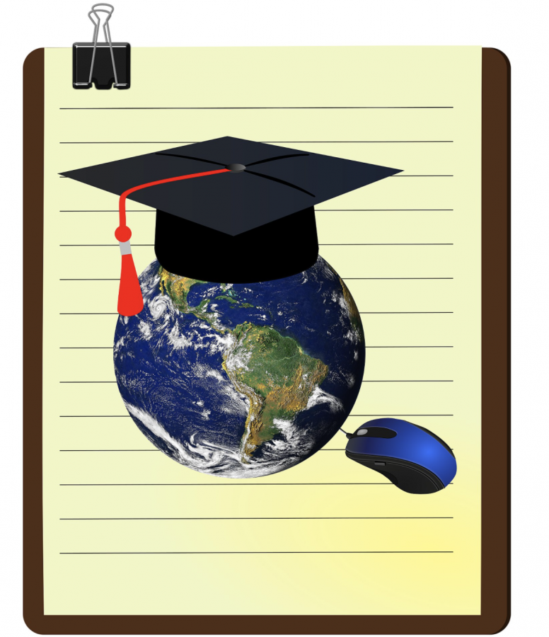 Graduation hat on top of Globe with Computer Mouse for e-learning learning by Chiplanay. Wiki commons.