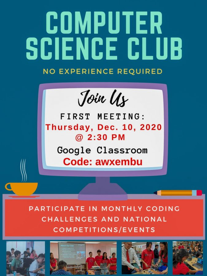 It's Computer Science Education Week and the Kalani CS Club will be hosting a virtual Hour of Code event on Dec. 10 after school at 2:30 p.m. for anyone