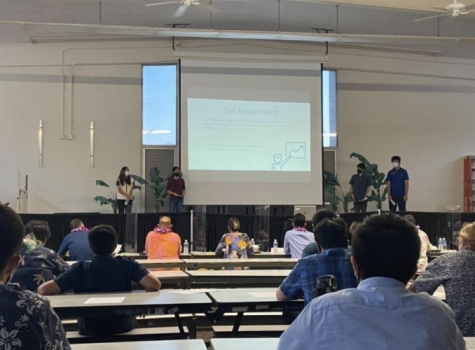 Genesis Onoyama (Middle left) presents her project with her group on Tuesday, May 17. Along with the panelists, Imi Loa students came to presentand support their fellow peers. Photo and caption by Lily Washburn.