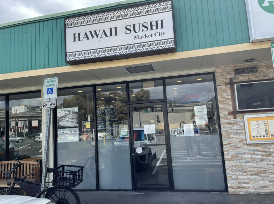 Local business Hawaii Sushi located in Market City or 2919 Kapiolani Boulevard was forced to change their hours due to COVID-19. Their new hours are 10am to 3pm on weekdays and now are fully closed on weekends. Photo and caption by Daniel Shiraki.