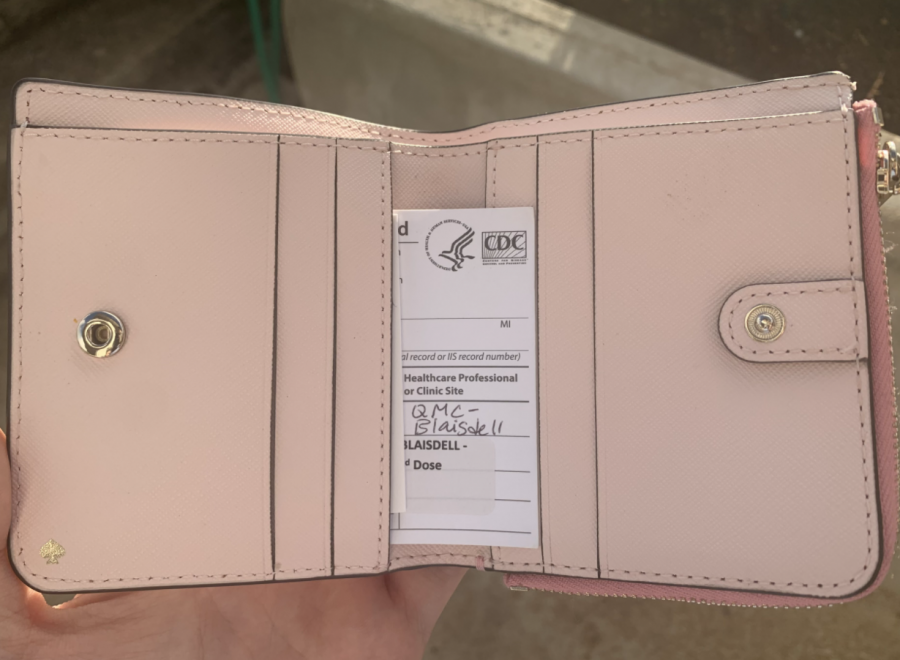 Since the COVID-19 vaccine has been rolled out across the world there has been a unique issue, the size of the card. According to the Verge, the vaccine card is 4 by 3 inches, larger than the standard wallet photo size which is 2.5 by 3.5 inches. Emails obtained by the Verge show that the Central for Disease Control and Prevention (CDC) had previously discussed the vaccine card size and intended for it to be folded. However, most people are reluctant to fold their cards. This issue has left people puzzled about where to put their vaccine cards and seeking alternative ways to keep their information. Photo and caption by Mina Kohara.