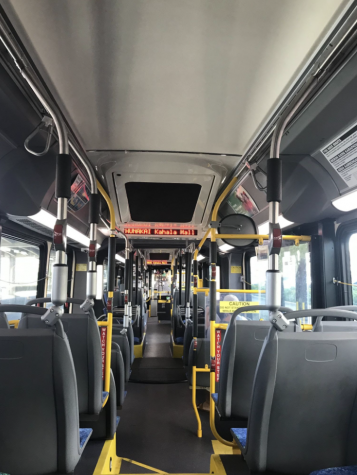 Every day, at 1:57 p.m. school ends and students rush to the bus stop right in front of Kalani. Due to COVID-19, bus drivers only allow a certain number of students on the bus at a time, which varies between the size of the bus and who drives it. Oftentimes, students will walk almost half a mile to the bus stop located near Waialae Iki Park just to get on the earliest bus possible, while others stay roughly 30 minutes after school to catch the next bus, just to avoid the crowds and risk of infection. Photo and caption by Jasmine Rossiter.